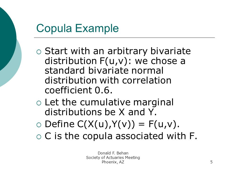 Donald F. Behan Society of Actuaries Meeting Phoenix, AZ5 Copula Example  Start with an arbitrary bivariate distribution F(u,v): we chose a standard