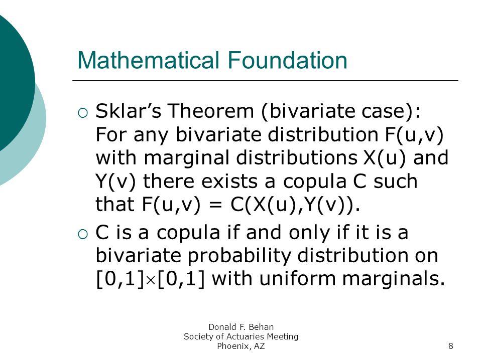 Donald F. Behan Society of Actuaries Meeting Phoenix, AZ8 Mathematical Foundation  Sklar's Theorem (bivariate case): For any bivariate distribution F