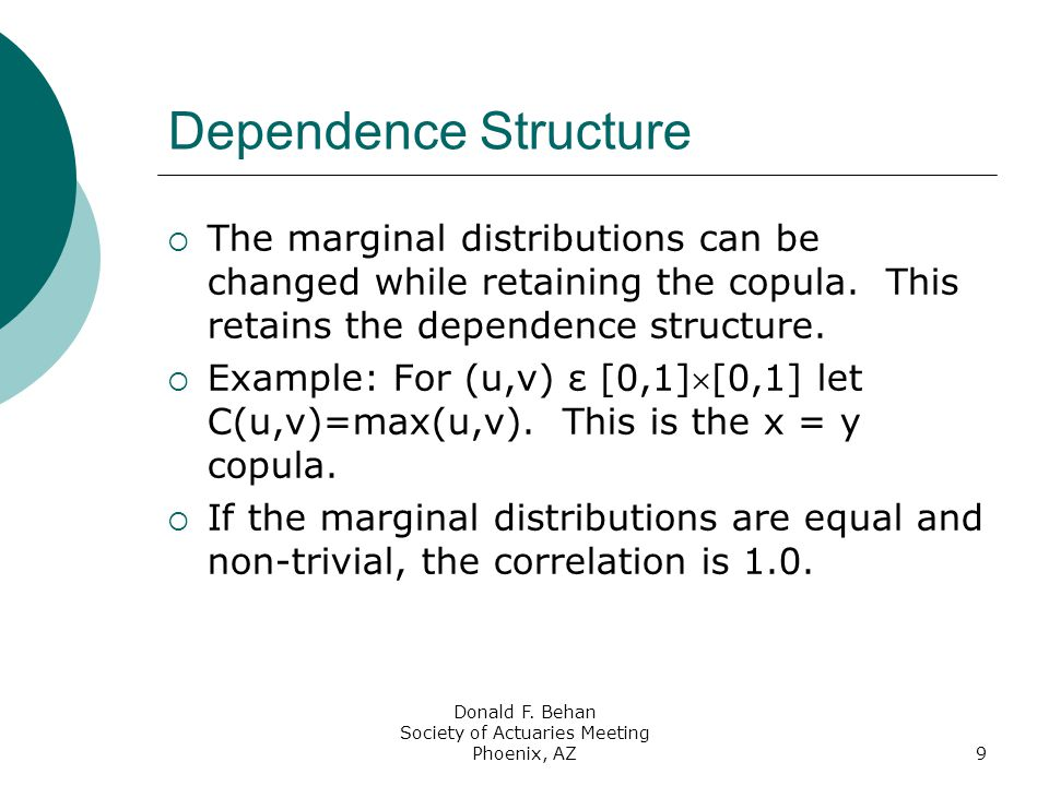 Donald F. Behan Society of Actuaries Meeting Phoenix, AZ9 Dependence Structure  The marginal distributions can be changed while retaining the copula.