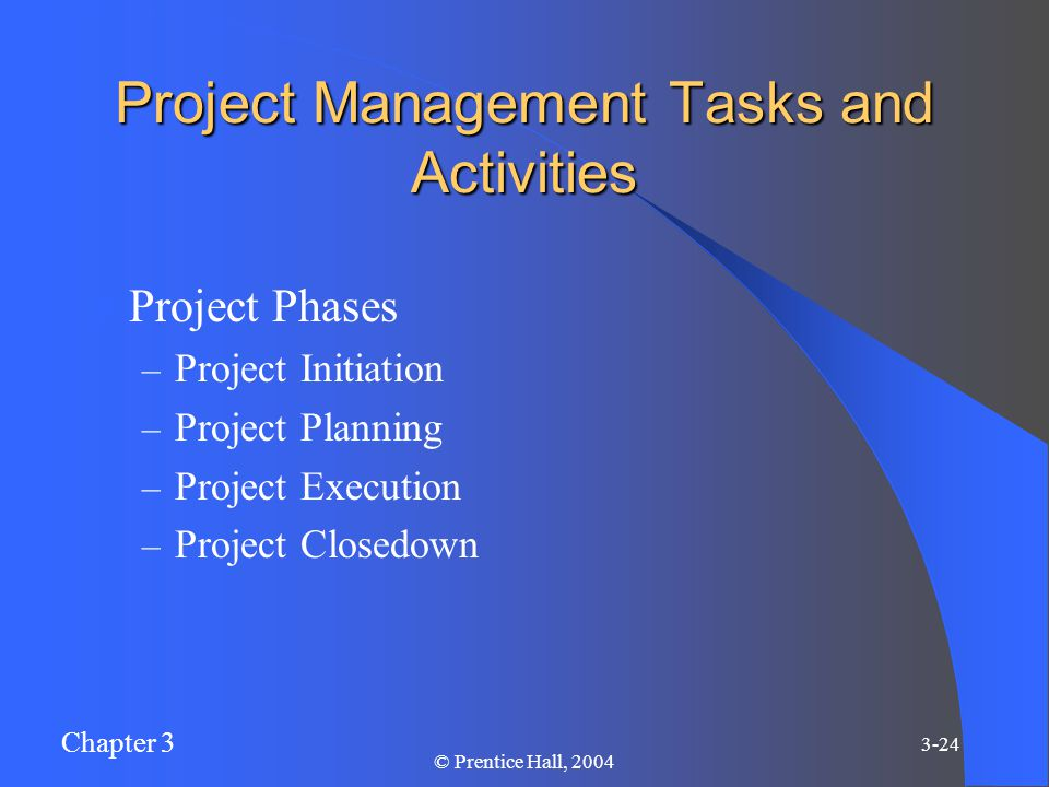 Chapter 3 3-24 © Prentice Hall, 2004 Project Management Tasks and Activities Project Phases – Project Initiation – Project Planning – Project Execution – Project Closedown