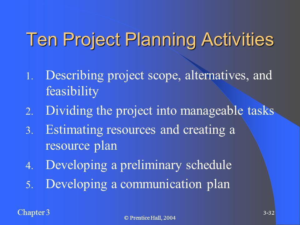 Chapter 3 3-32 © Prentice Hall, 2004 Ten Project Planning Activities 1.