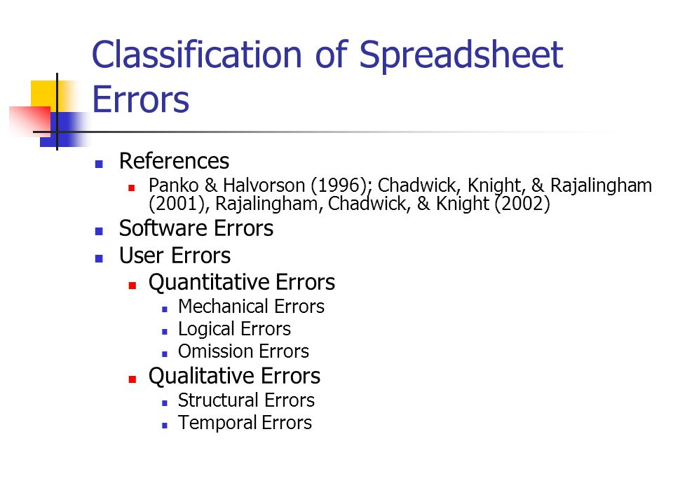 Classification of Spreadsheet Errors References Panko & Halvorson (1996); Chadwick, Knight, & Rajalingham (2001), Rajalingham, Chadwick, & Knight (200