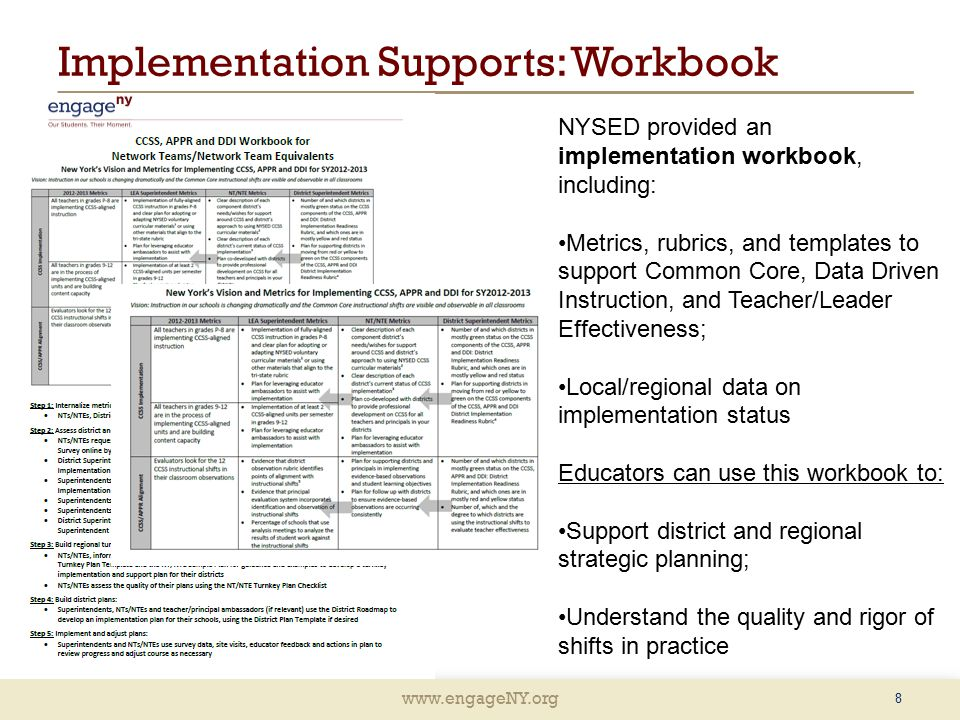 www.engageNY.org Implementation Supports: Workbook 8 NYSED provided an implementation workbook, including: Metrics, rubrics, and templates to support Common Core, Data Driven Instruction, and Teacher/Leader Effectiveness; Local/regional data on implementation status Educators can use this workbook to: Support district and regional strategic planning; Understand the quality and rigor of shifts in practice