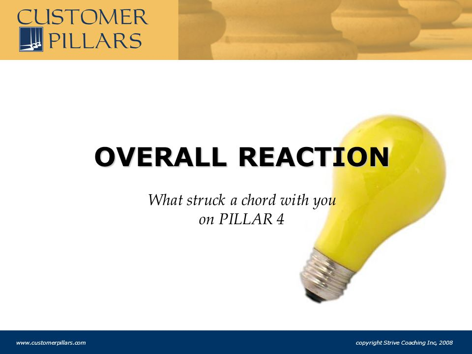 OVERALL REACTION What struck a chord with you on PILLAR 4 www.customerpillars.com copyright Strive Coaching Inc, 2008