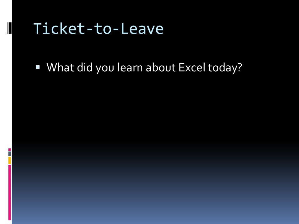Ticket-to-Leave  What did you learn about Excel today