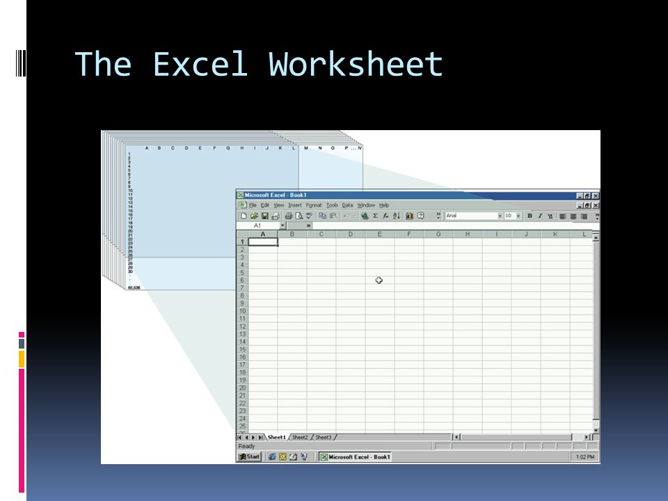 The Worksheet  A sheet tab displays…  …at the bottom of the workbook and contains the sheet name.
