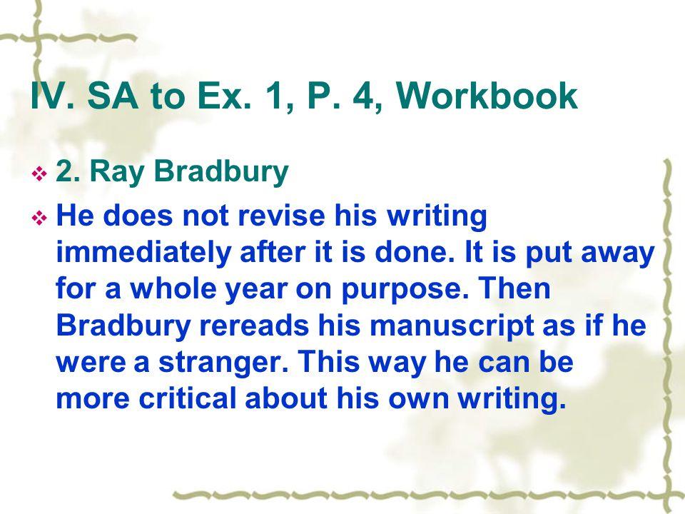 IV. SA to Ex. 1, P. 4, Workbook  2.