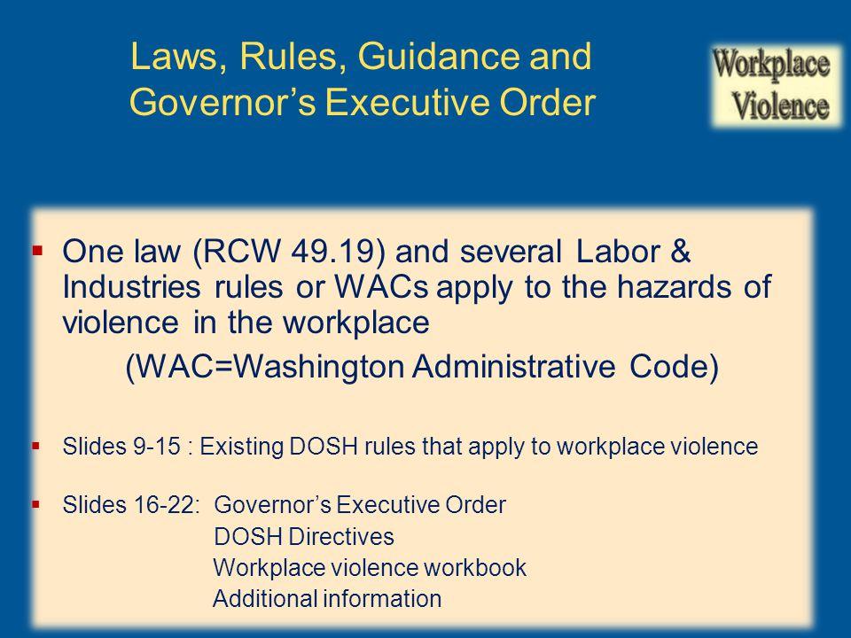 Resources: Workplace Violence Workbook Link to workbook
