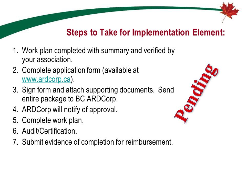 Steps to Take for Implementation Element: 1.Work plan completed with summary and verified by your association. 2.Complete application form (available