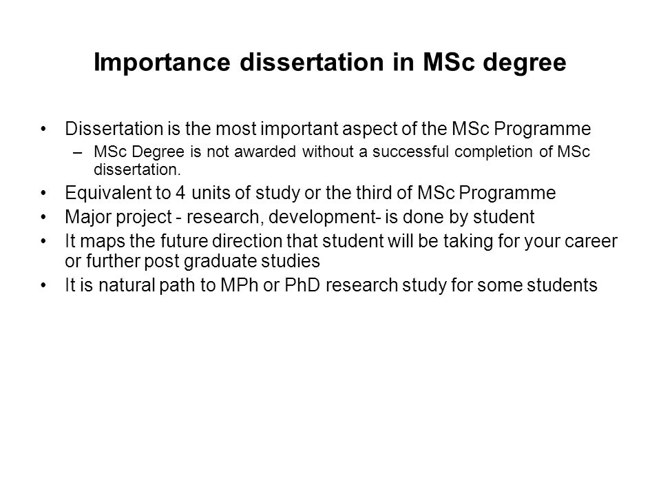 MSc Dissertation Process Stage 1 –Identify subject area of interest –Design a suitable project specification –Register your project and supervisor online http://www.lsbu.ac.uk/bcimmsc/ Stage 2 –Meet your supervisor regularly –Produce a plan of work for: Research; Practical and experimental Development; Write-up –Keep an up to date workbook –Hand a draft version to you supervisor by the deadlines Stage 3 –Submit: Your final project online Two hard copies of final version + workbook by the deadlines