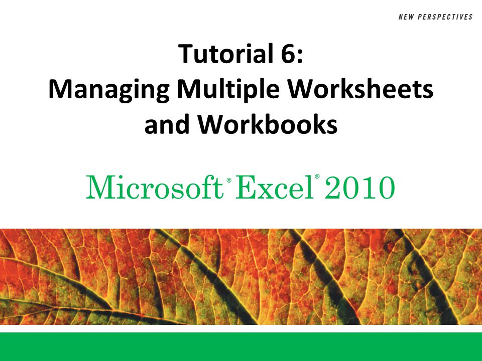 Microsoft Excel 2010 ® ® Tutorial 6: Managing Multiple Worksheets and Workbooks