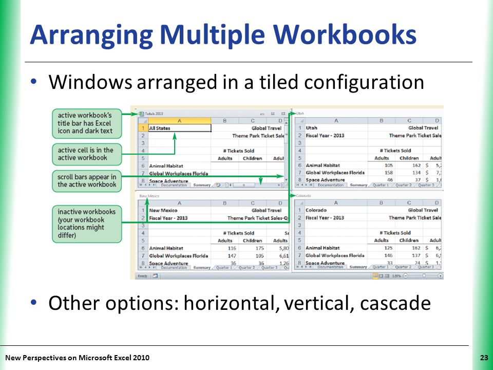 XP New Perspectives on Microsoft Excel 201023 Arranging Multiple Workbooks Windows arranged in a tiled configuration Other options: horizontal, vertic