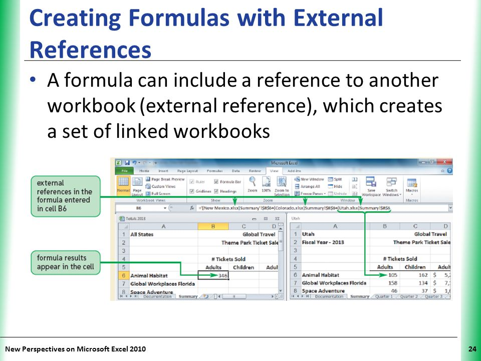 XP New Perspectives on Microsoft Excel 201024 Creating Formulas with External References A formula can include a reference to another workbook (extern