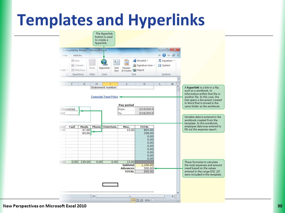 XP New Perspectives on Microsoft Excel 201030 Templates and Hyperlinks