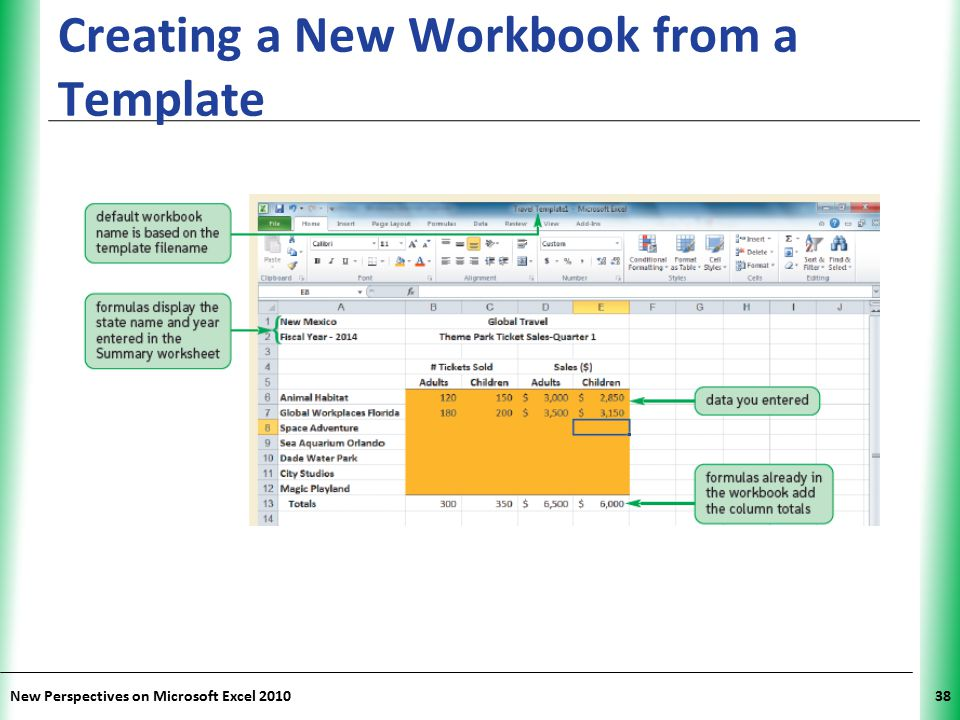 XP New Perspectives on Microsoft Excel 201038 Creating a New Workbook from a Template