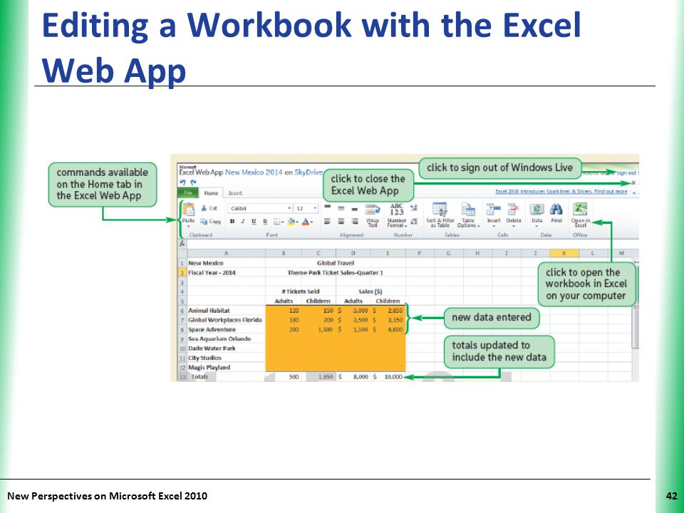 XP New Perspectives on Microsoft Excel 201042 Editing a Workbook with the Excel Web App