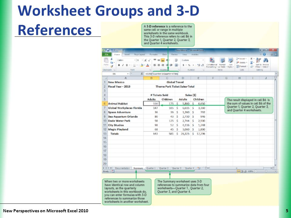 XP New Perspectives on Microsoft Excel 20105 Worksheet Groups and 3-D References