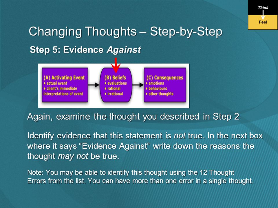 Step 5: Evidence Against Again, examine the thought you described in Step 2 Identify evidence that this statement is not true.