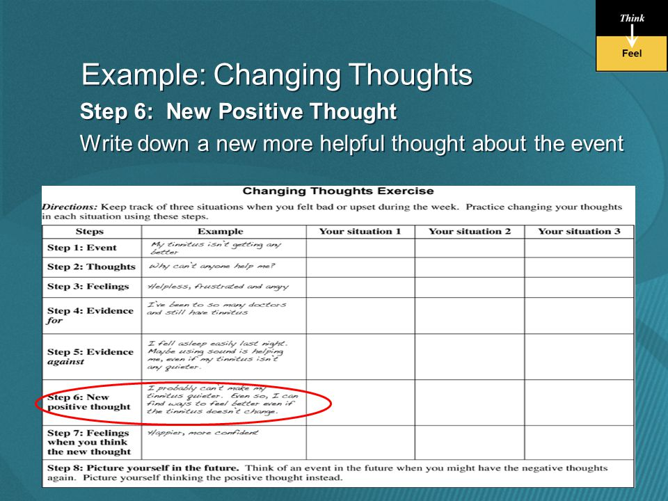 Step 6: New Positive Thought Write down a new more helpful thought about the event Step 6: New Positive Thought Write down a new more helpful thought about the event Example: Changing Thoughts