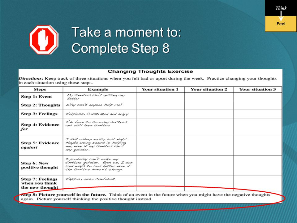 Take a moment to: Complete Step 8 Take a moment to: Complete Step 8