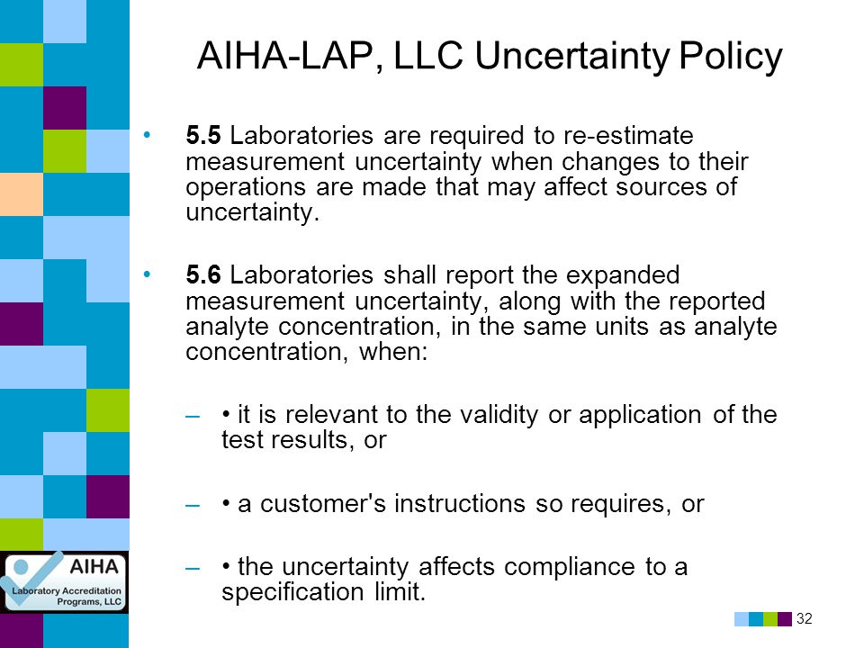32 AIHA-LAP, LLC Uncertainty Policy 5.5 Laboratories are required to re-estimate measurement uncertainty when changes to their operations are made tha