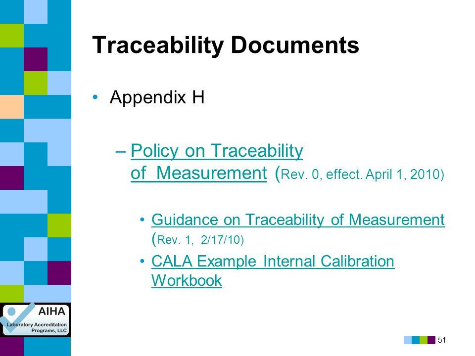 51 Traceability Documents Appendix H –Policy on Traceability of Measurement ( Rev. 0, effect. April 1, 2010)Policy on Traceability of Measurement Guid