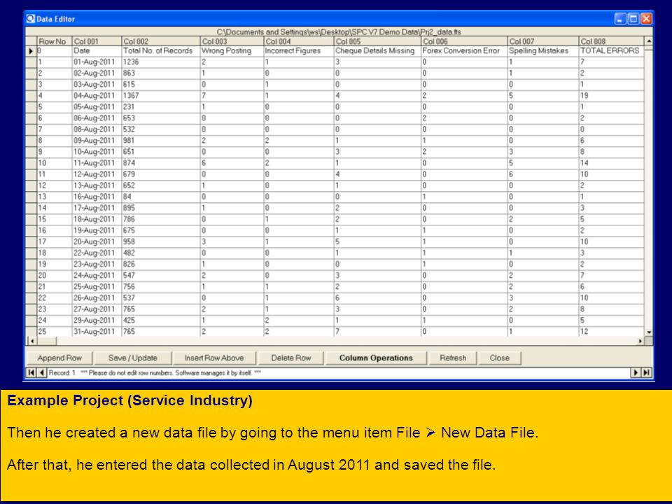 Example Project (Service Industry) Then he created a new data file by going to the menu item File  New Data File.