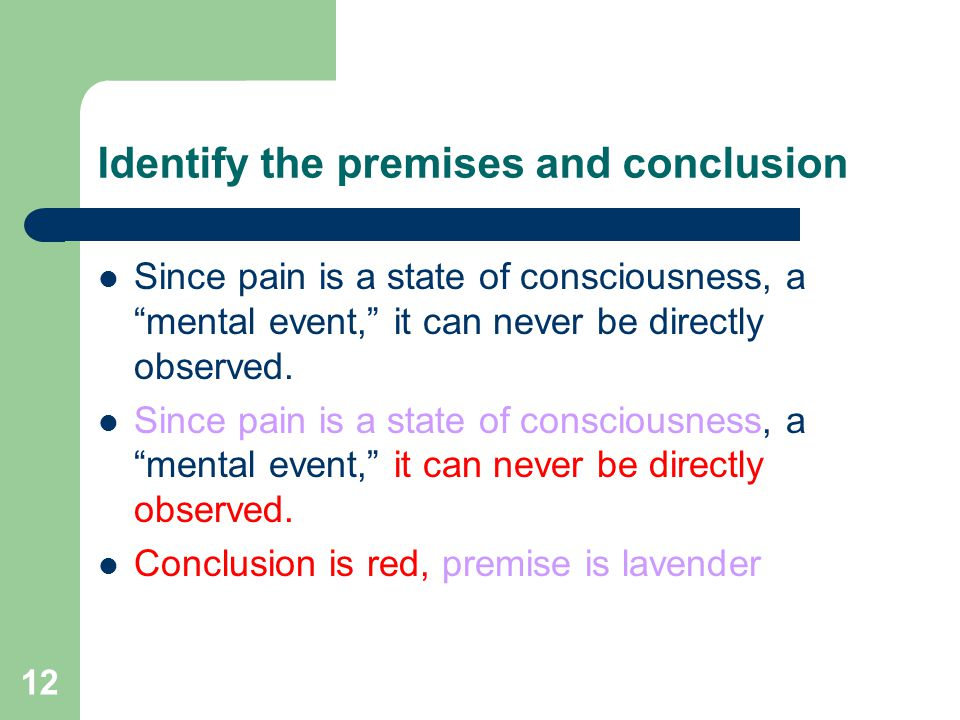 12 Identify the premises and conclusion Since pain is a state of consciousness, a mental event, it can never be directly observed.