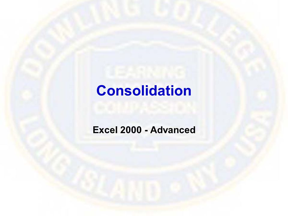 Consolidation Excel 2000 - Advanced