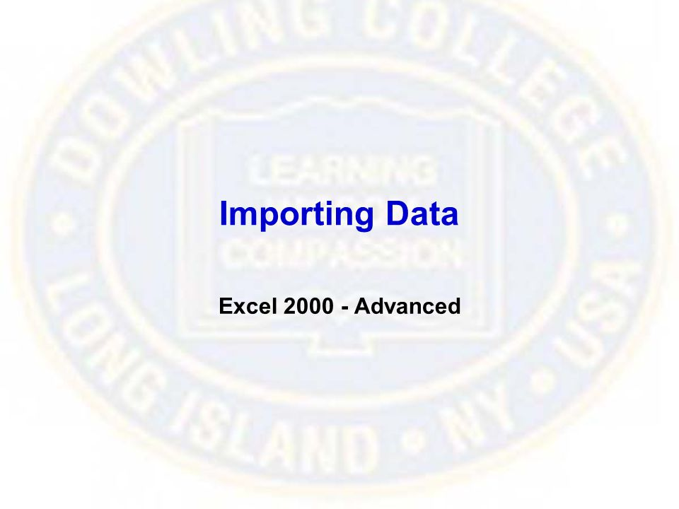 Importing Data Excel 2000 - Advanced