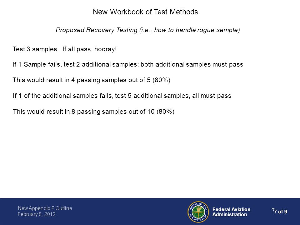 8 of 9 Federal Aviation Administration New Appendix F Outline February 8, 2012 8 Noteworthy (anticipated) changes to test methods: Example: Part I B Cargo Liner Flame Penetration Test: Change to include the exclusive use of sonic burner A/C will include testing criteria for seams, joints, fastening systems, light fixtures A/C will include testing criteria for cargo liner patches, repair New Workbook of Test Methods Appendix will include examples of rogue test results, video of sample failure, details on calibration, etc.