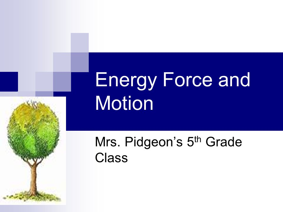Energy Force and Motion Mrs. Pidgeon's 5 th Grade Class
