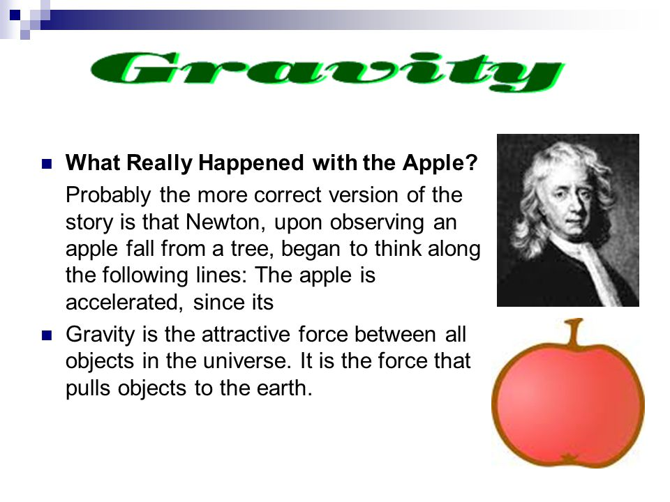What Really Happened with the Apple? Probably the more correct version of the story is that Newton, upon observing an apple fall from a tree, began to