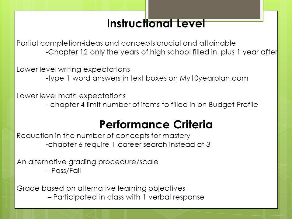 Instructional Level Partial completion-ideas and concepts crucial and attainable -Chapter 12 only the years of high school filled in, plus 1 year after Lower level writing expectations -type 1 word answers in text boxes on My10yearplan.com Lower level math expectations - chapter 4 limit number of items to filled in on Budget Profile Performance Criteria Reduction in the number of concepts for mastery -chapter 6 require 1 career search instead of 3 An alternative grading procedure/scale – Pass/Fail Grade based on alternative learning objectives – Participated in class with 1 verbal response