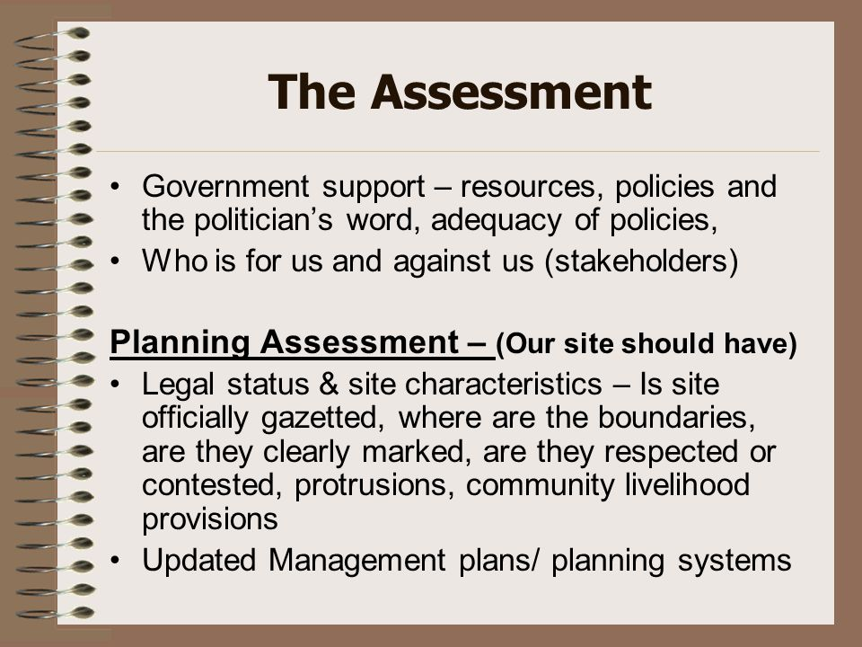 The Assessment Government support – resources, policies and the politician's word, adequacy of policies, Who is for us and against us (stakeholders) P
