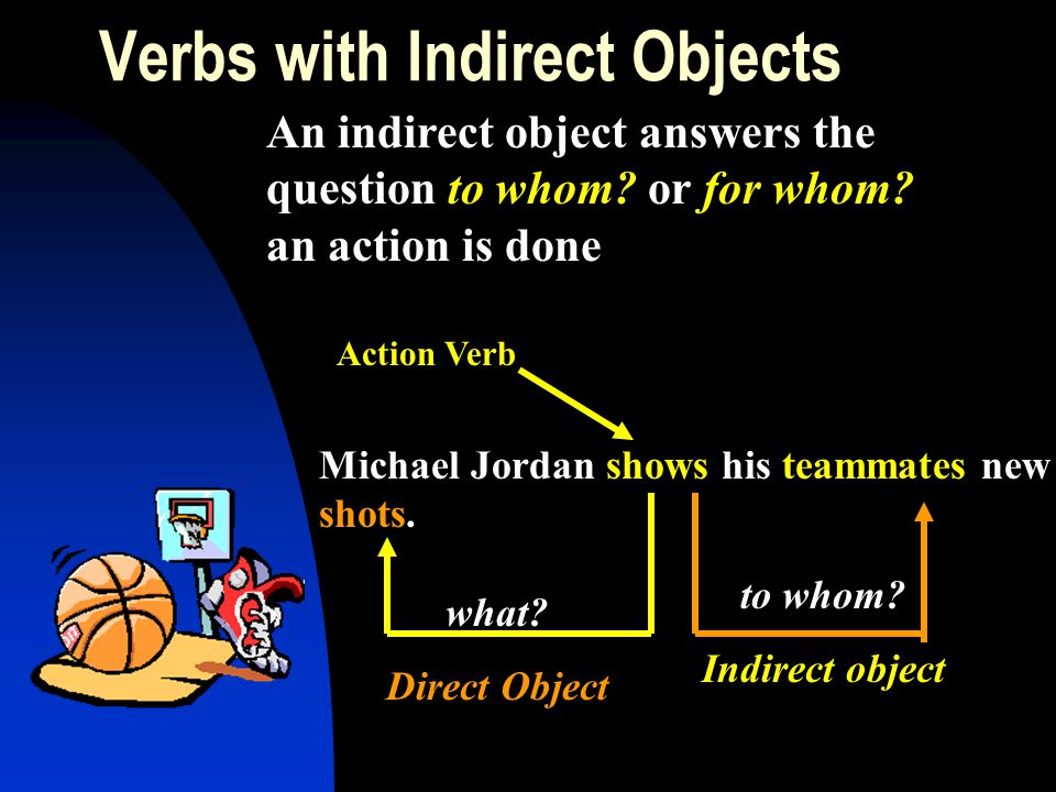 Verbs with Indirect Objects An indirect object answers the question to whom? or for whom? an action is done Michael Jordan shows his teammates new sho
