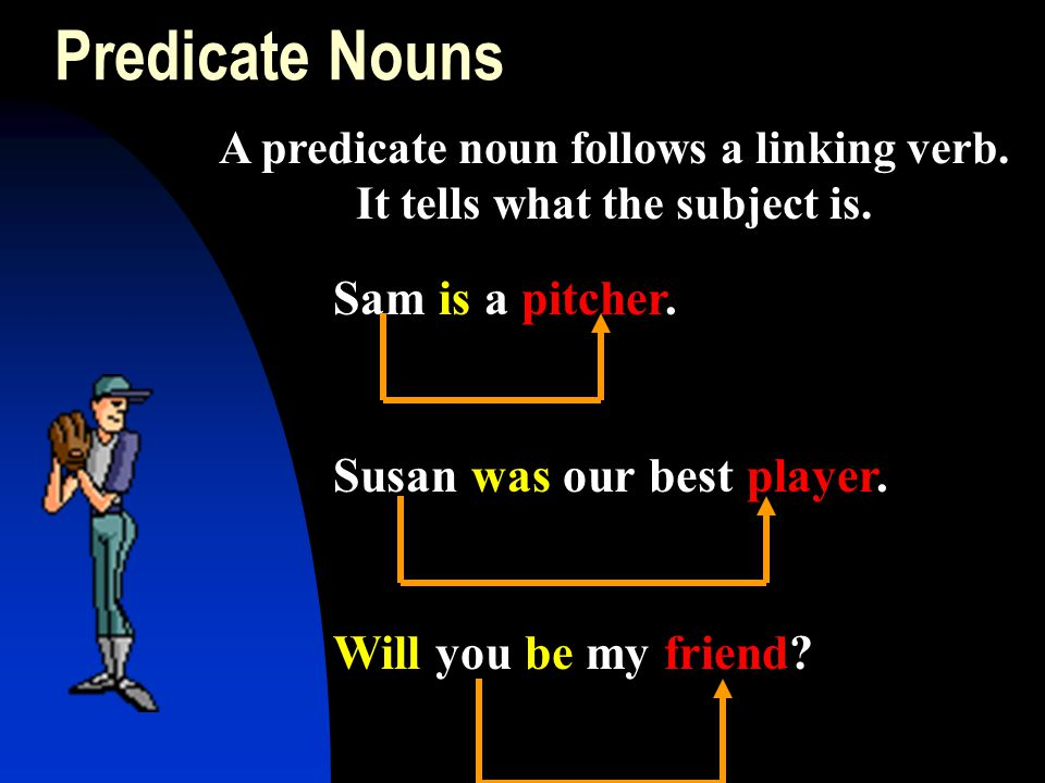 Predicate Nouns Sam is a pitcher. Susan was our best player. Will you be my friend? A predicate noun follows a linking verb. It tells what the subject
