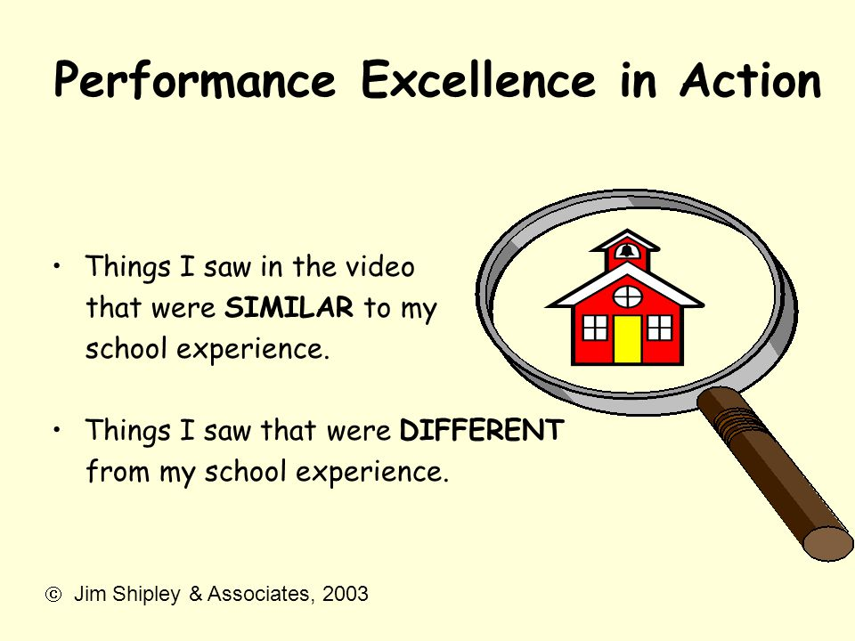 Performance Excellence in Action Things I saw in the video that were SIMILAR to my school experience. Things I saw that were DIFFERENT from my school