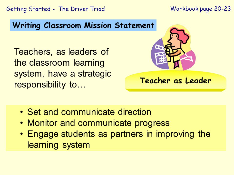 Set and communicate direction Monitor and communicate progress Engage students as partners in improving the learning system Writing Classroom Mission