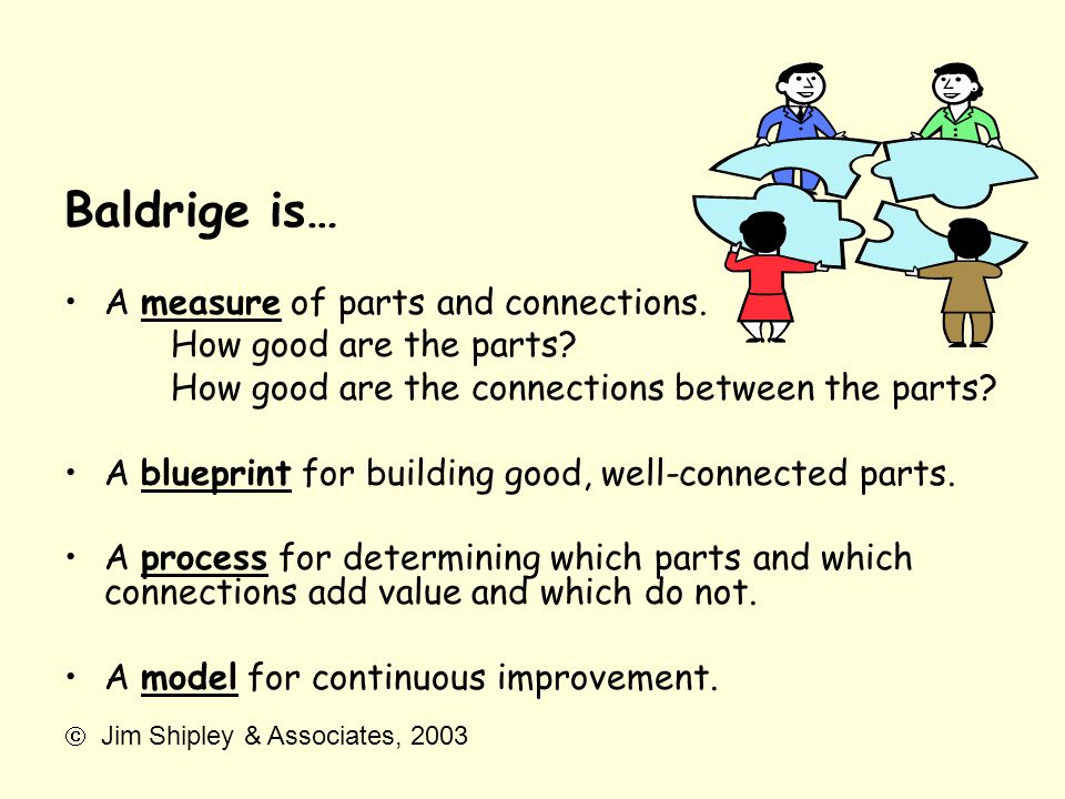 Baldrige is… A measure of parts and connections. How good are the parts? How good are the connections between the parts? A blueprint for building good