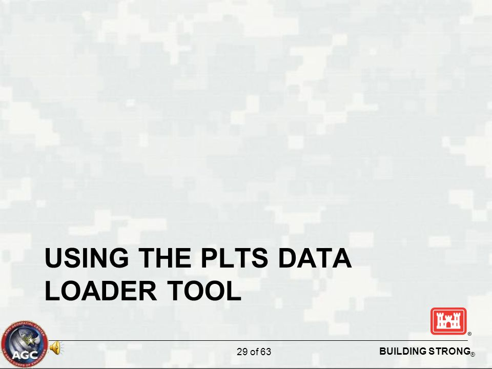 BUILDING STRONG ® USING THE PLTS DATA LOADER TOOL 29 of 63