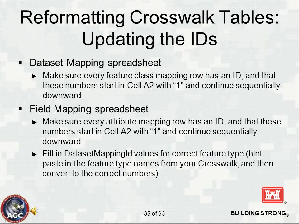 BUILDING STRONG ® Reformatting Crosswalk Tables: Updating the IDs  Dataset Mapping spreadsheet ► Make sure every feature class mapping row has an ID, and that these numbers start in Cell A2 with 1 and continue sequentially downward  Field Mapping spreadsheet ► Make sure every attribute mapping row has an ID, and that these numbers start in Cell A2 with 1 and continue sequentially downward ► Fill in DatasetMappingId values for correct feature type (hint: paste in the feature type names from your Crosswalk, and then convert to the correct numbers) 35 of 63