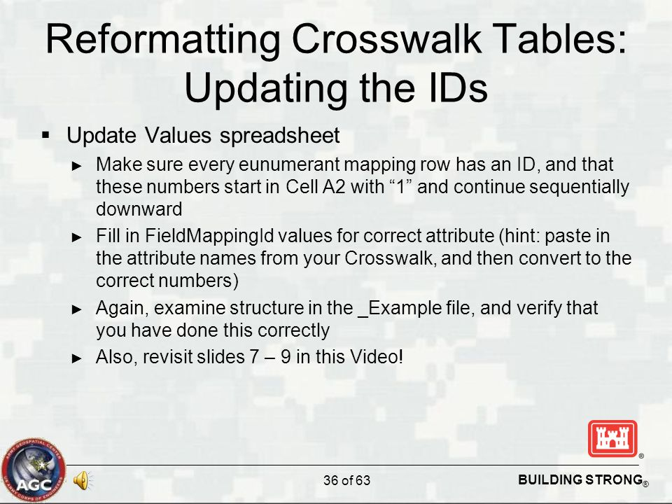 BUILDING STRONG ® Reformatting Crosswalk Tables: Updating the IDs  Update Values spreadsheet ► Make sure every eunumerant mapping row has an ID, and that these numbers start in Cell A2 with 1 and continue sequentially downward ► Fill in FieldMappingId values for correct attribute (hint: paste in the attribute names from your Crosswalk, and then convert to the correct numbers) ► Again, examine structure in the _Example file, and verify that you have done this correctly ► Also, revisit slides 7 – 9 in this Video.