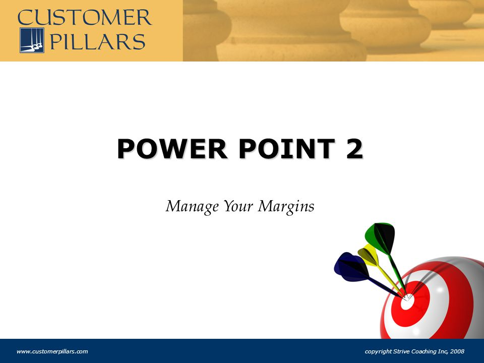 POWER POINT 2 Manage Your Margins www.customerpillars.com copyright Strive Coaching Inc, 2008