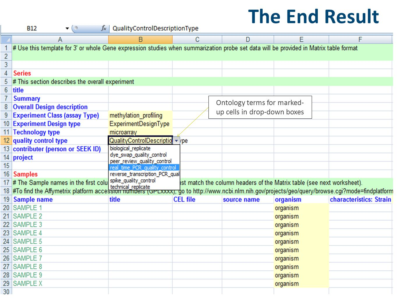 Ontology terms for marked- up cells in drop-down boxes The End Result