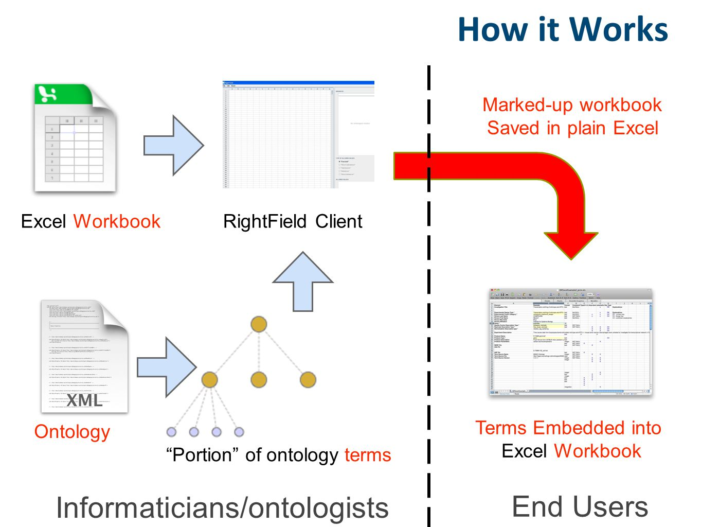 "Excel Workbook Ontology ""Portion"" of ontology terms Terms Embedded into Excel Workbook RightField Client How it Works Marked-up workbook Saved in plai"