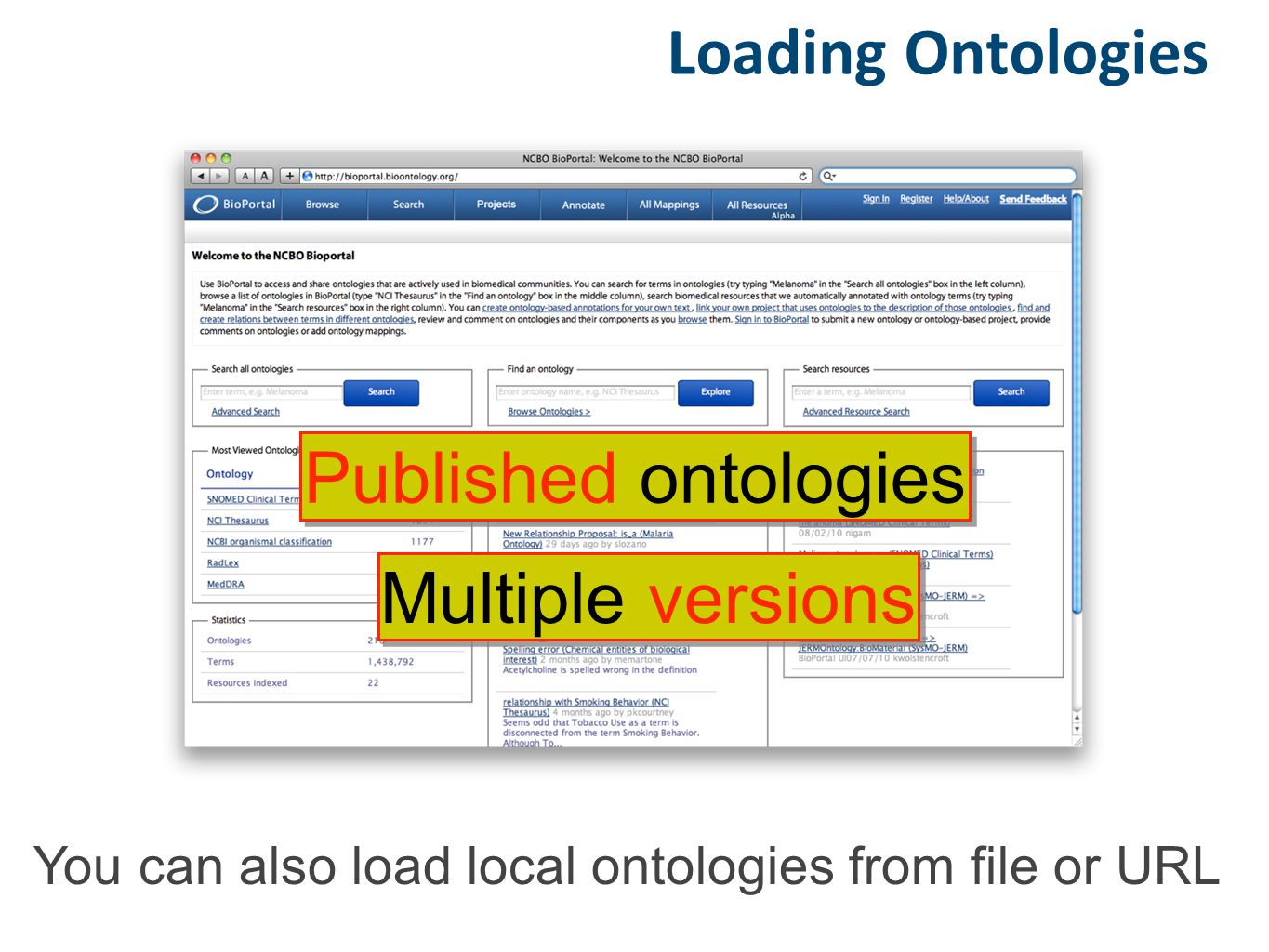 Loading Ontologies Published ontologies Multiple versions You can also load local ontologies from file or URL