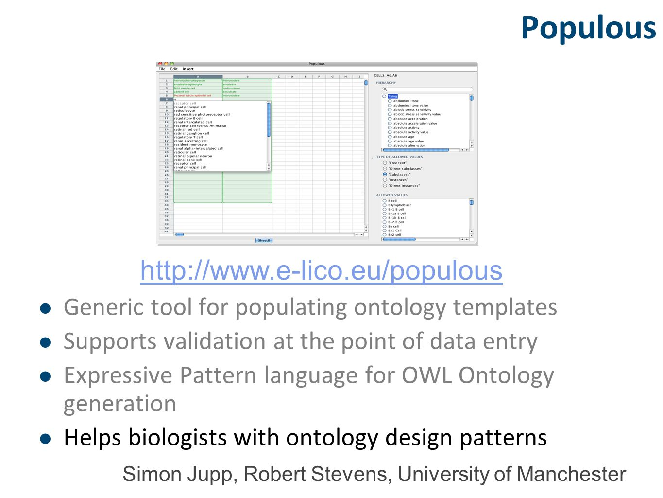 Populous Generic tool for populating ontology templates Supports validation at the point of data entry Expressive Pattern language for OWL Ontology generation Helps biologists with ontology design patterns http://www.e-lico.eu/populous Simon Jupp, Robert Stevens, University of Manchester
