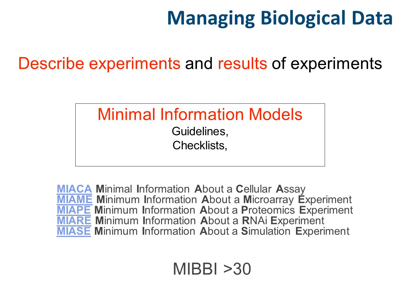 Describe experiments and results of experiments Minimal Information Models Guidelines, Checklists, Managing Biological Data MIACAMIACA Minimal Informa