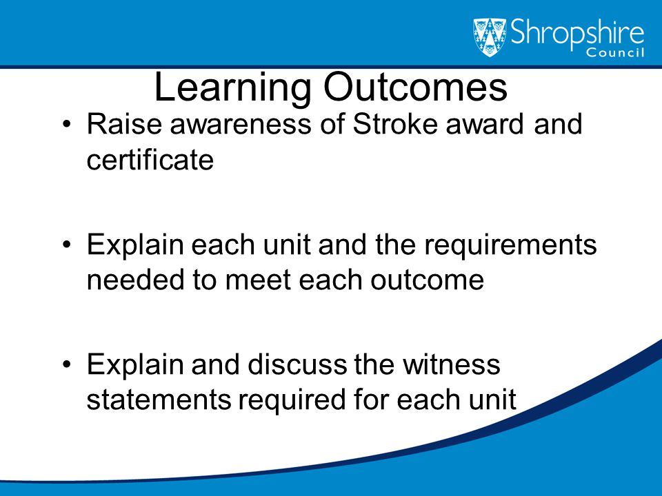 Learning Outcomes Raise awareness of Stroke award and certificate Explain each unit and the requirements needed to meet each outcome Explain and discuss the witness statements required for each unit